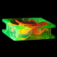 Флуоресцентный вентилятор 80 мм зелено оранжевый с УФ светодиодами