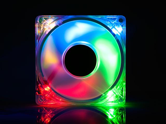 Вентилятор с подсветкой разноцветной RGBO с 4 светодиодами Gembird