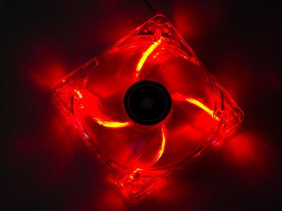 Вентилятор с подсветкой красной 120мм Exegate Fan 12025M12B LED1