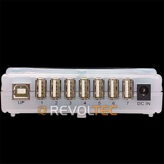 Концентратор REVOLTEC USB 2 0 HUB на 7 USB портов  синий  прямоуг   внеш  пит