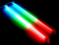 Комплект из 2 х трехцветных ламп  синий зеленый красный  30 см  с инвертором