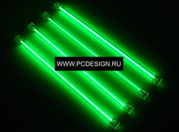 Светоманский набор из 4 х неоновых ламп зеленого цвета 30см  с 2 мя инверторами