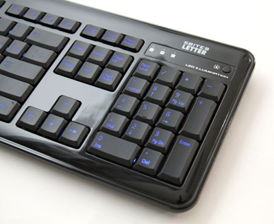 Клавиатура с подсветкой символов синей 5bites LETTER 37L черная
