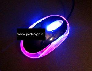 Моддерская мышка полупрозрачная  черная   порт PS 2