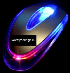 Моддерская мышка полупрозрачная  серебристая   порт PS 2