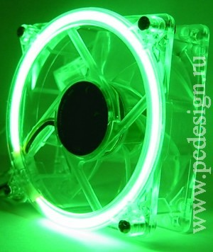 Вентилятор 120 мм с зеленым неоновым кольцом
