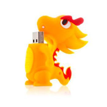 Флешка дракон желтый 4 ГБ Bone Dragon Driver USB