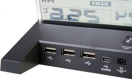 USB хаб на 7 портов USB2 0 E Blue JRIJEME EHB032I00 с ЖК дисплеем и часами