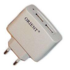 Адаптер питания USB 220 В 5В 2 выхода белый ORIENT PU 2202