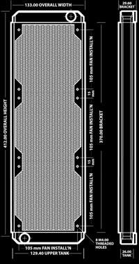 Радиатор для водяного охлаждения Black Ice GT Stealth 360 XFlow синий
